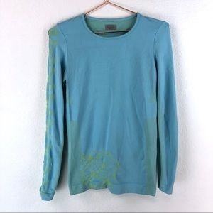 Athleta Blue Green Printed Compression LS Tee